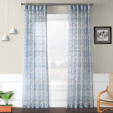 Exclusive Fabrics Mardi Gras Printed Faux Linen Sheer Curtain