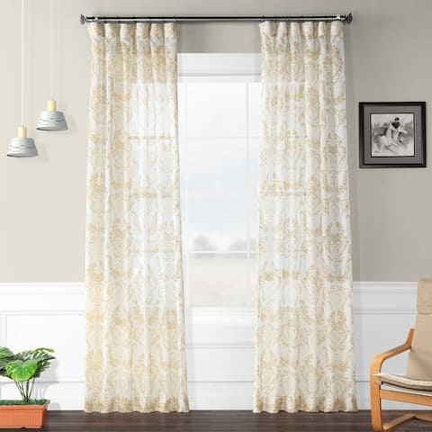 Exclusive Fabrics Terrace Printed Faux Linen Sheer Curtain