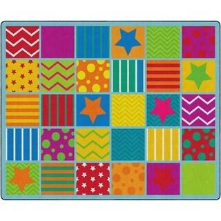 "Flagship Carpet Kids Nylon Silly Classroom Seating Rug, 30 Seats - 10'9"" x 13'2"" - 10'9"" x 13'2"""