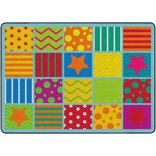 "Flagship Carpet Kids Nylon Silly Classroom Seating Rug, 20 Seats - 6' x 8'4"" - 6' x 8'4"""