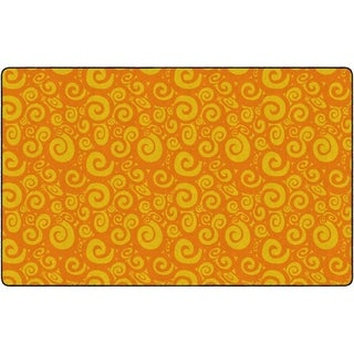 "Flagship Carpet Kids Nylon Swirl Tone On Tone Classroom Seating Rug, Orange - 7'6"" x 12' - 7'6"" x 12'"