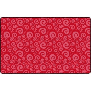 "Flagship Carpet Kids Nylon Swirl Tone On Tone Classroom Seating Rug, Cherry - 7'6"" x 12' - 7'6"" x 12'"