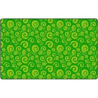 "Flagship Carpet Kids Nylon Swirl Tone On Tone Classroom Seating Rug, Lime - 7'6"" x 12' - 7'6"" x 12'"