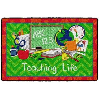 Flagship Carpet Kids Nylon Teaching Life Classroom Seating Rug, Green and Red - 3' x 2' - 3' x 2'