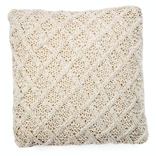 "Crosby Diamond Weave 18"" Knitted Cotton Throw Pillow"