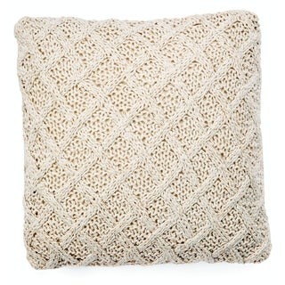 """Crosby Diamond Weave 18"""" Knitted Cotton Throw Pillow"""