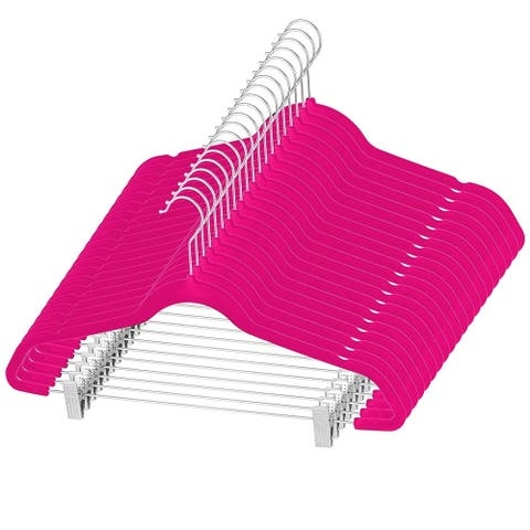 Premium Space Saving Velvet Pants Hangers with Metal Clips - 20 pack