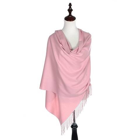 BYOS Versatile Oversized Soft Cashmere Feel Shawl Scarf Travel Wrap Blanket W/ Tassels, Many Colors