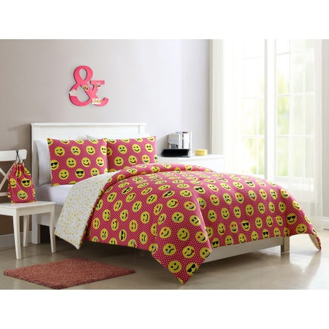VCNY Home Facey Emoji Pink Reversible Comforter Set