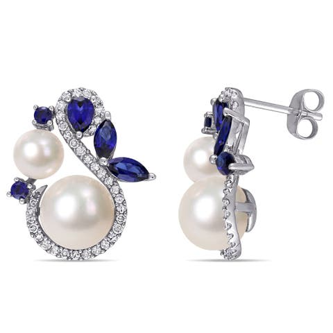 Miadora 10k White Gold Cultured FW Pearl Created Blue Sapphire and 1/3ct TDW Diamond Earrings (5-9 MM)
