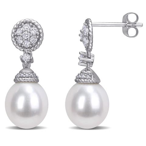 Miadora 14k White Gold Cultured FW Pearl and 1/3ct TDW Diamond Cluster Drop Earrings (9-10 MM)