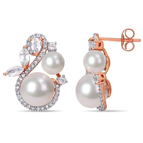 Miadora 10k Rose Gold Pink and White FW Pearl White Topaz 1/3ct TDW Diamond Crossover Earrings (5-9 MM)