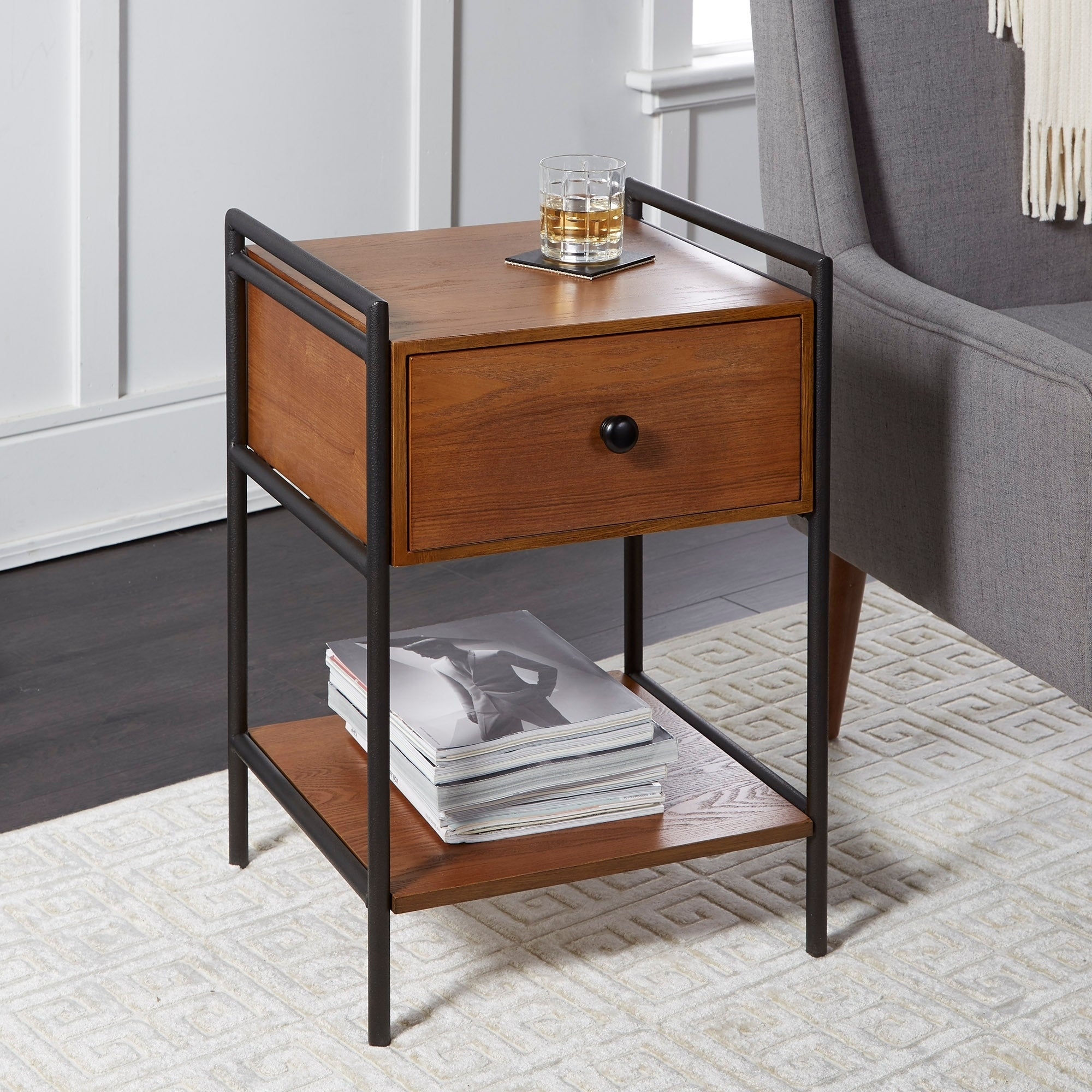 - Shop Rebekah Farmhouse Industrial Accent Table With Drawer