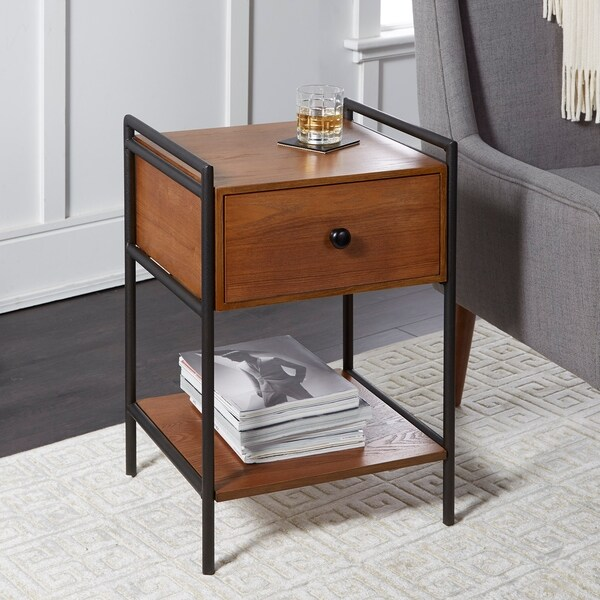 Rebekah Farmhouse Industrial Accent Table with Drawer
