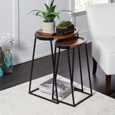 Helena Dual Black Metal and Wood Nesting Tables