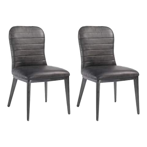 Aurelle Home Casporian Classic Leather Dining Chairs (Set of 2)