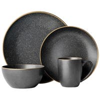Gourmet Basics by Mikasa Juliana Black 16-Piece Dinnerware Set, Service For 4