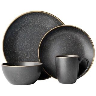 Gourmet Basics by Mikasa Juliana Black 16-Piece Dinnerware Set, Service For 4