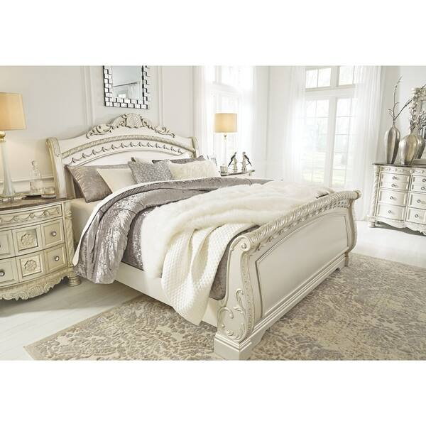 Cassimore Pearl Silver Sleigh Bed Overstock 27550729
