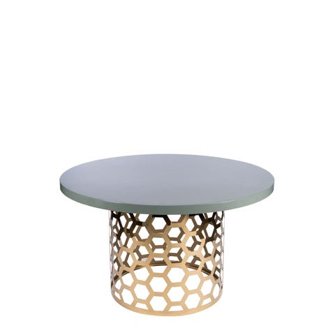 Statements By J Laguna Goldtone Finish Stainless Steel and Grey Lacquer Top Dining Table