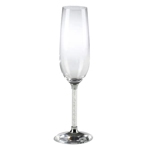 Saro Lifestyle Crystal Glass Champagne Flutes (Set of 2)