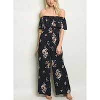 JED Women's Off Shoulder Floral & Dots Jumpsuit