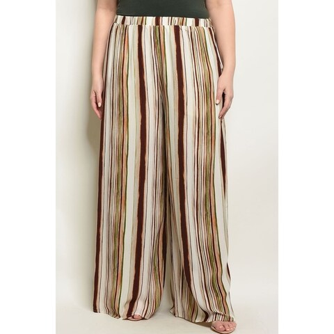 JED Women's Plus Size Wide Leg Stripes Palazzo Pants