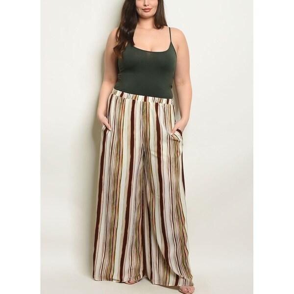 JED Women's Plus Size Wide Leg Stripes Palazzo Pants