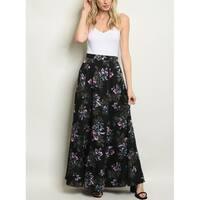 JED Women's A-Line Floral High Waist Maxi Skirt