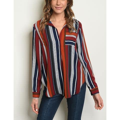 JED Women's Open Collar Long Sleeve Stripes Shirt