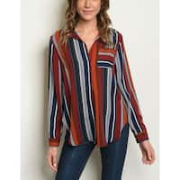 JED Women's Open Collar Long Sleeve Stripes Shirt