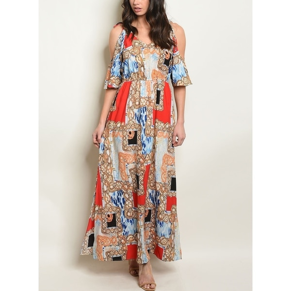 JED Women's Cold Shoulder Printed Maxi Dress