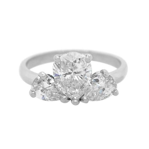 Platinum 1.5ct Diamond Three Stone Vintage Ring (J-K,SI1-SI2)