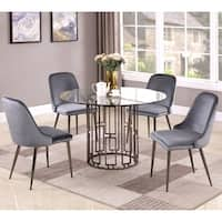 Modern Chic Geometric 5-piece Dining Set with Blue Velvet Chairs