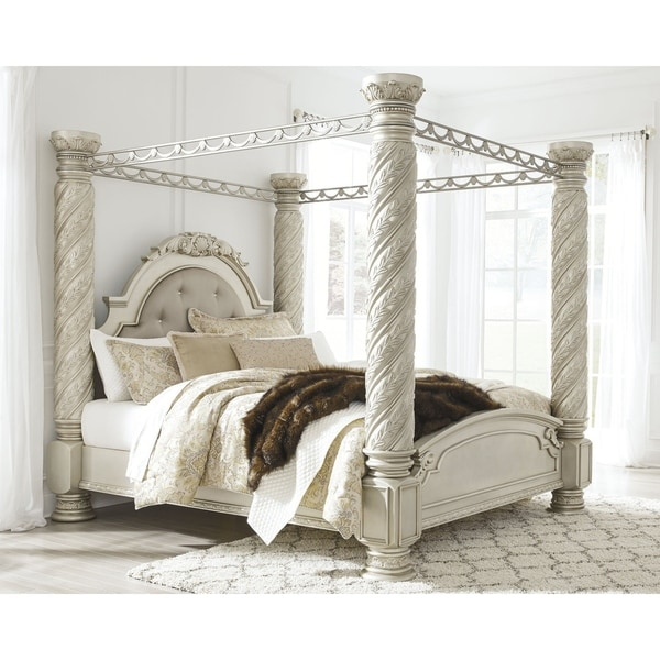 Cassimore Pearl Silver Wood Poster Canopy Bed by Signature Design By Ashley