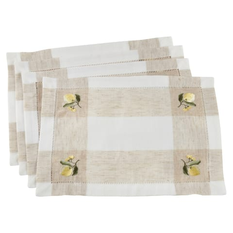 Saro Lifestyle Linen Hemstitch Embroidered Lemon Placemats (Set of 4)