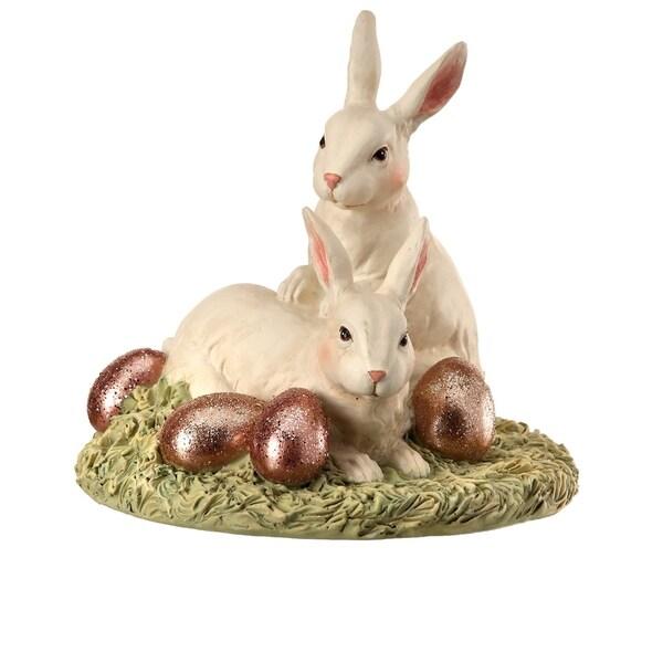 Polystone Bunnies W Foil Egg 3 5