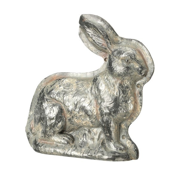 """Easter Bunny Rabbit Stone Tabletop Statue - Glided Antique Silver - 6"""" x 7"""""""