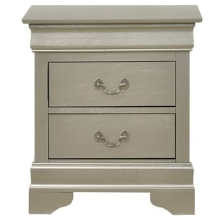 LYKE Home Lucas 2-drawer Silver/Champagne Nightstand