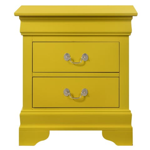 LYKE Home Lucas 2-drawer Yellow Nightstand
