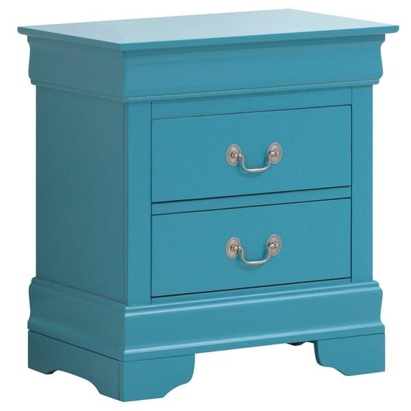 LYKE Home Lucas 2-drawer Blue Nightstand