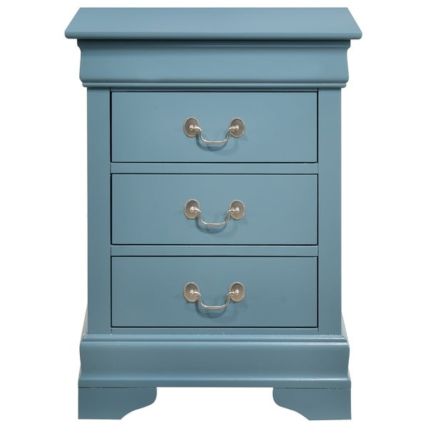 LYKE Home Lucas 3-drawer Blue Nightstand