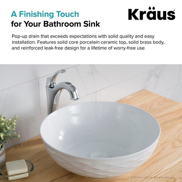 Kraus Pu 20 Pop Up No Overflow Drain With Porcelain Ceramic Top For Bathroom Sink Overstock 27551539