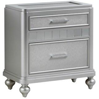 LYKE Home Passaic Silver Nightstand