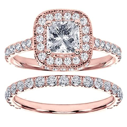 14k Rose Gold 2 2/5ct TDW Diamond Bridal Ring Set