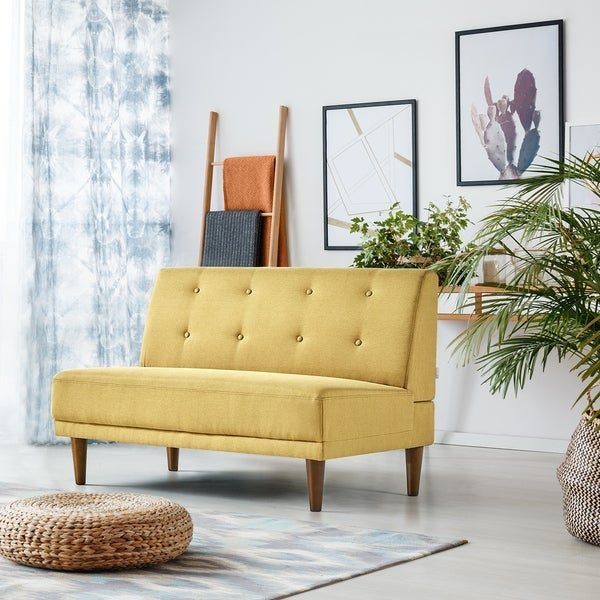 Shop Priage By Zinus Armless Loveseat Mustard Yellow On