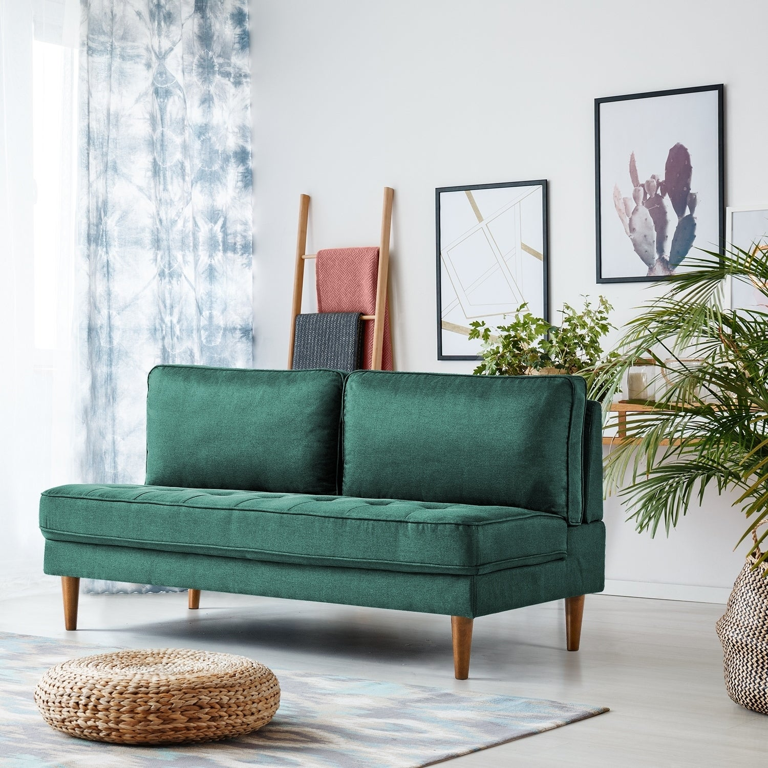 Strange Carson Carrington Harbo Forest Green Armless Sofa Ncnpc Chair Design For Home Ncnpcorg
