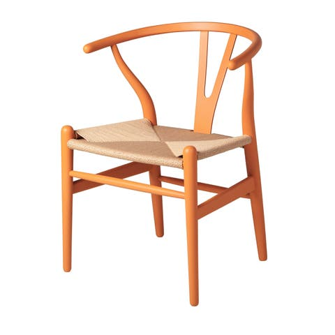 Beach Rattan Side Chair in Orange