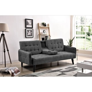 Hash Grey Tufted Upholstered Futon Sleeper
