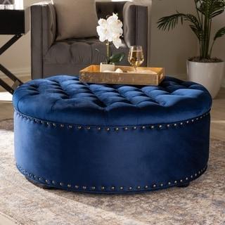 Baxton Studio Velvet Fabric and Wood Contemporary Ottoman